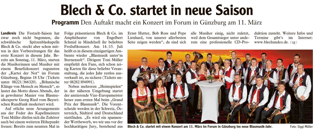Mittelschwaebische berichtet über den Blech&Co Saison Start